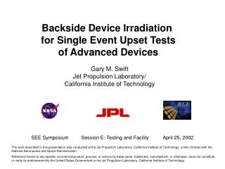 Backside Device Irradiation  for Single Event Upset Tests of Advanced Devices