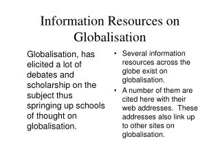 Information Resources on Globalisation