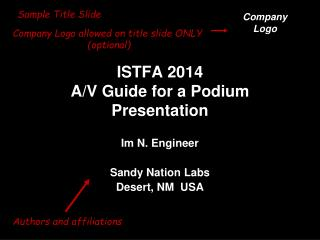 ISTFA 2014 A/V Guide for a Podium Presentation