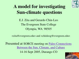 A model for investigating  Sun-climate questions