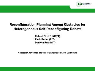 Reconfiguration Planning Among Obstacles for Heterogeneous Self-Reconfiguring Robots
