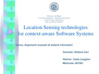 Location Sensing technologies  for context-aware Software Systems