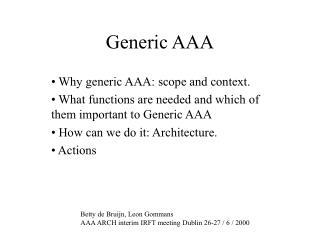 Generic AAA