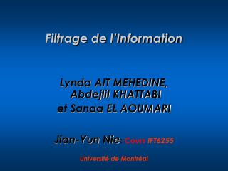 Filtrage de l'Information