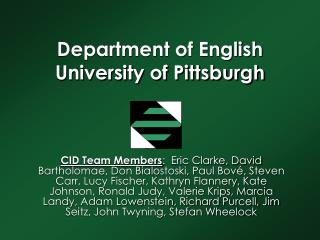 Department of English University of Pittsburgh