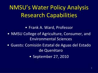 NMSU's Water Policy Analysis Research Capabilities