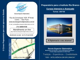 Preparatório para o Instituto Rio Branco  Cursos Intensivo e Avançado