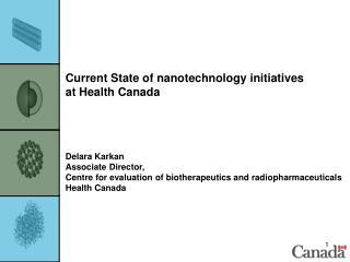 Current State of nanotechnology initiatives  at Health Canada Delara Karkan Associate Director,