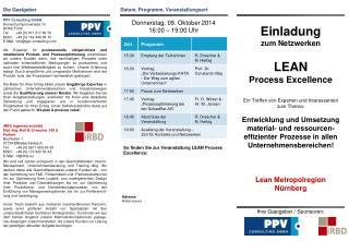 So finden Sie  zur Veranstaltung LEAN  Process  Excellence: