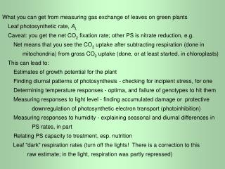 What you can get from measuring gas exchange of leaves on green plants