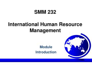 SMM 232 International Human Resource Management
