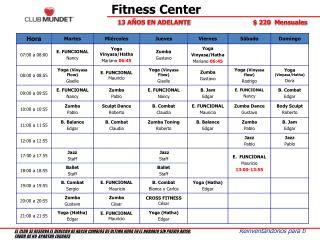 Fitness Center  Abril