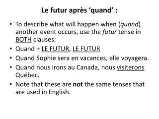 Le futur après 'quand':