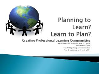 Planning to  Learn? Learn to Plan?