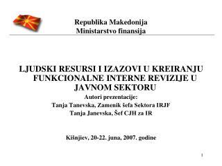 Republika Makedonija  Ministarstvo finansija