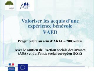 Valoriser les acquis d'une expérience bénévole VAEB Projet pilote au sein d'ARIA – 2003-2006