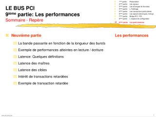 LE BUS PCI 9 ième  partie: Les performances Sommaire - Repère