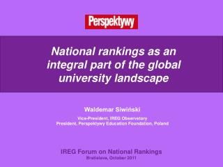 National rankings as an integral part of the global university landscape