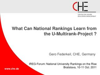 What  Can National Rankings  Learn from the  U-Multirank-Project ?