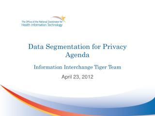 Data Segmentation for Privacy Agenda Information Interchange Tiger Team