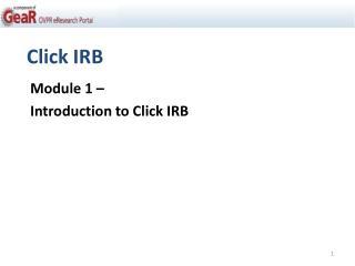 Click IRB