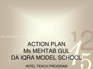 ACTION PLAN Ms MEHTAB GUL DA IQRA MODEL SCHOOL