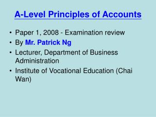 A-Level Principles of Accounts