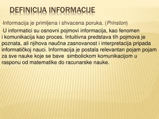 Definicija informacije