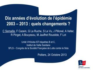 Dix années d ' évolution de l ' épidémie  2003 – 2013 : quels changements ?