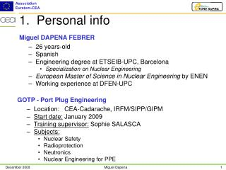1.  Personal info
