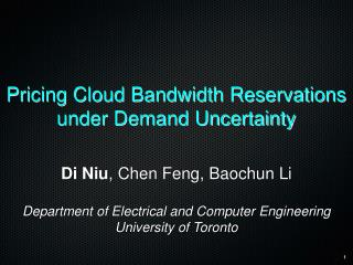 Pricing Cloud Bandwidth Reservations under Demand Uncertainty