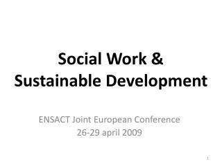Social Work & Sustainable Development