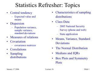 Statistics Refresher: Topics