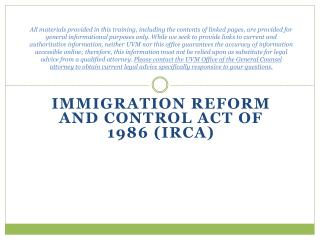 Immigration Reform and Control Act of 1986 (IRCA)