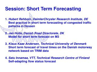 General conclusions on  short term forecasting 1/2