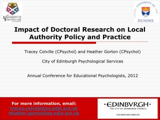 Impact of Doctoral Research on Local Authority Policy and Practice