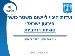 ועדות היגוי ליישום משטר כושר פירעון ישראלי סוגיות רוחביות