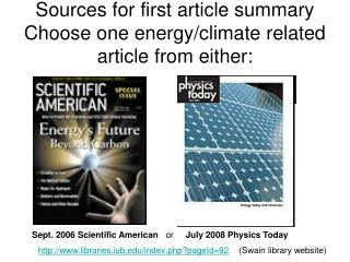 Sources for first article summary Choose one energy/climate related article from either: