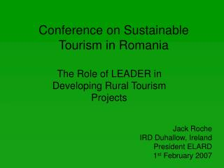 Conference on Sustainable Tourism in Romania