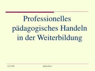 Professionelles pädagogisches Handeln in der Weiterbildung