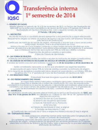 Transferência interna 1º semestre de 2014