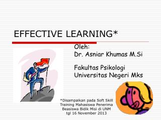 EFFECTIVE LEARNING*