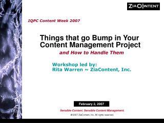 IQPC Content Week 2007