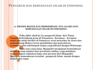 Pengaruh dan kebudayaan islam di indonesia