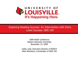Exploring Reading Success: An Intervention with Entry Level Courses: GEN 105