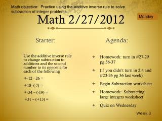 Math 2/27/2012