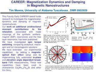 CAREER: Magnetization Dynamics and Damping