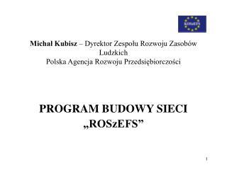 """PROGRAM BUDOWY SIECI  """"ROSzEFS"""""""