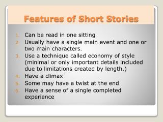Features of Short Stories