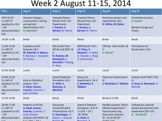 Week 2 August 11-15, 2014